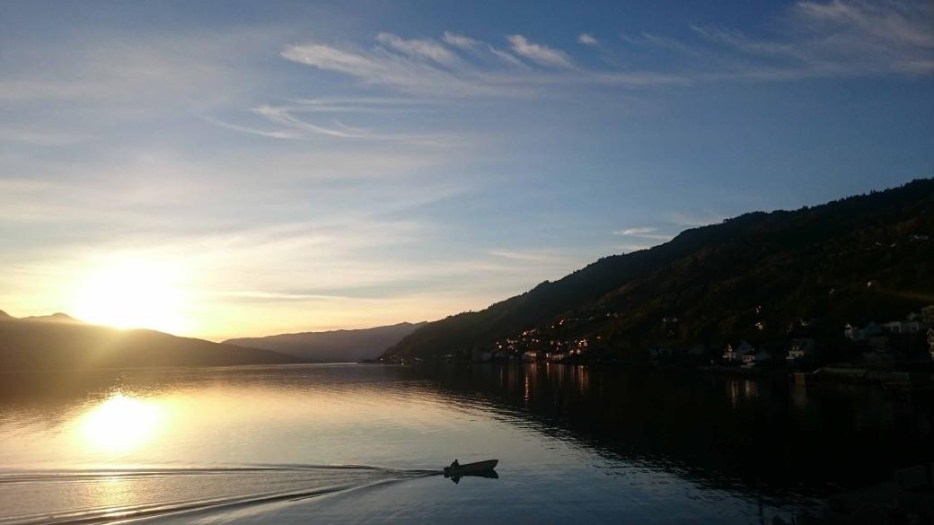 Utsikt over Sognefjorden frå våre kontorlokaler på Leikanger ein sein haustkveld